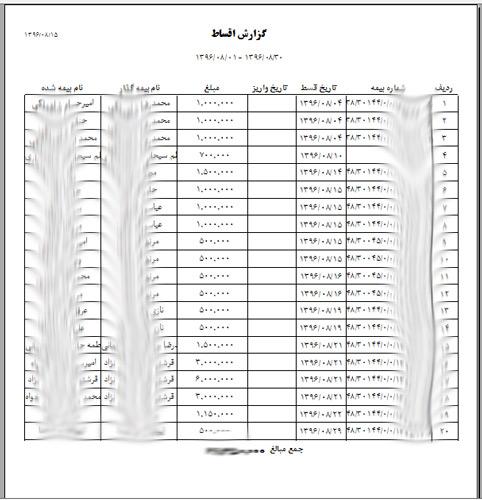 گزارش اقساط نرم افزار مدیریت دفتر بیمه عمر دادکین